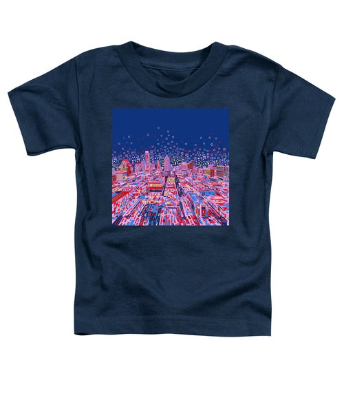 Austin Texas Abstract Panorama Toddler T-Shirt by Bekim Art
