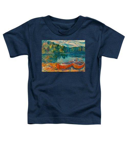 Canoes At Mountain Lake Toddler T-Shirt