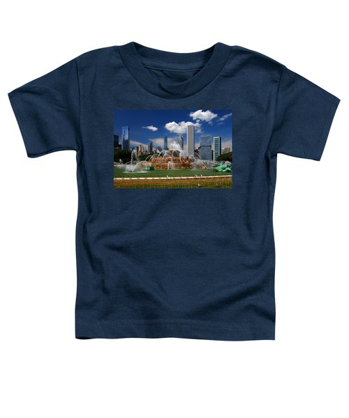 Chicago Skyline Grant Park Fountain Clouds Toddler T-Shirt