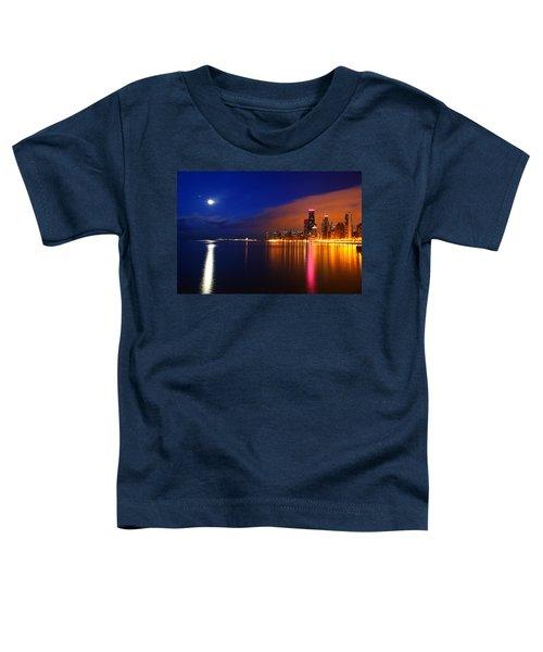 Chicago Skyline Moonlight Toddler T-Shirt