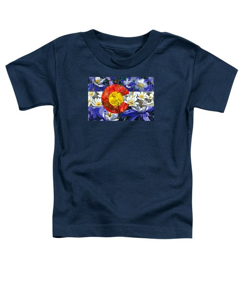 Toddler T-Shirt featuring the photograph Colorado State Flag With Wildflower Textures by Aaron Spong