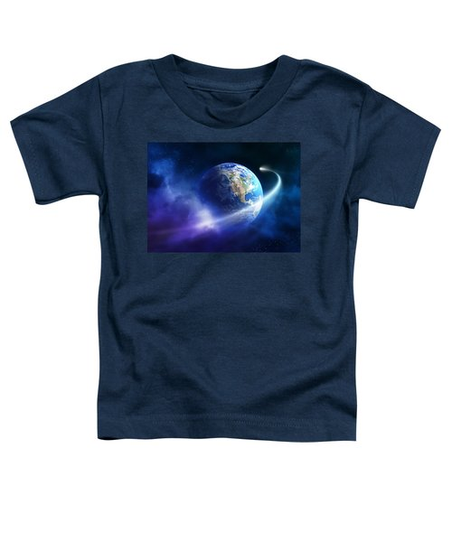 Comet Moving Passing Planet Earth Toddler T-Shirt