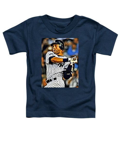 Derek Jeter In Action Toddler T-Shirt by Florian Rodarte