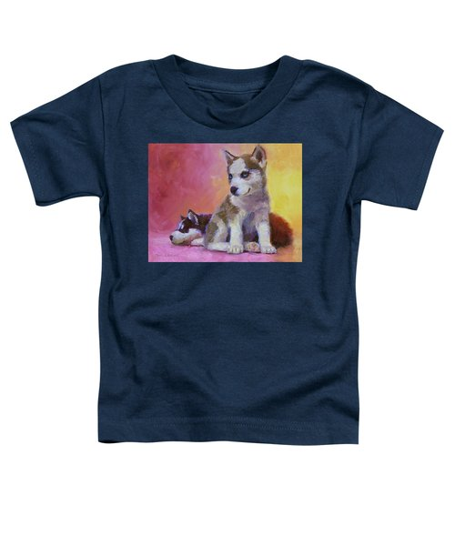 Double Trouble - Alaskan Husky Sled Dog Puppies Toddler T-Shirt