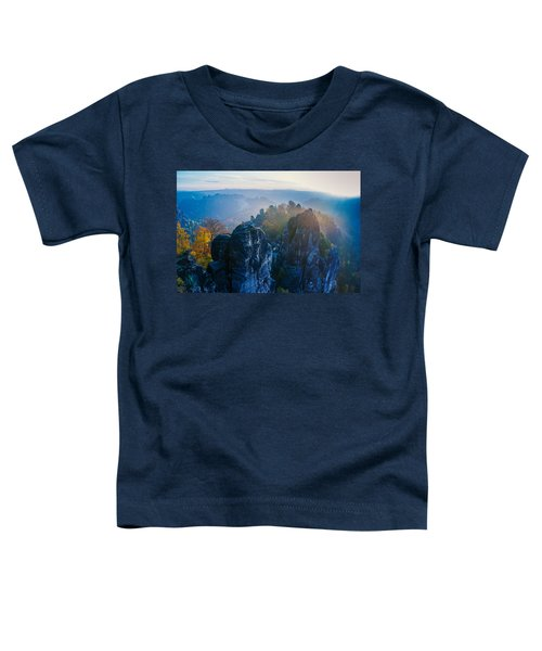 Early Morning Mist At The Bastei In The Saxon Switzerland Toddler T-Shirt