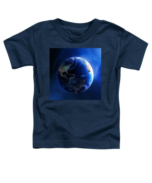 Earth And Galaxy With City Lights Toddler T-Shirt