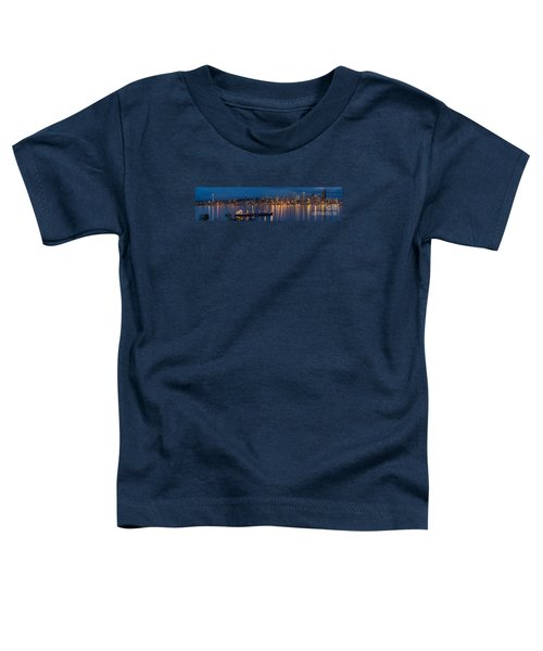 Elliott Bay Seattle Skyline Night Reflections  Toddler T-Shirt by Mike Reid