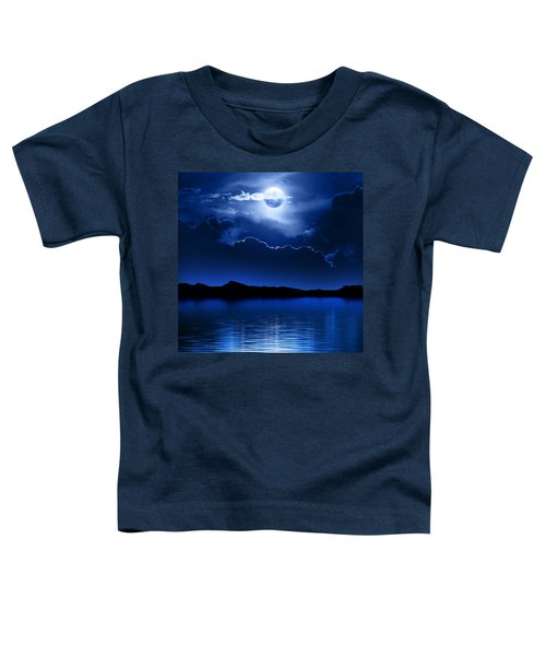 Fantasy Moon And Clouds Over Water Toddler T-Shirt