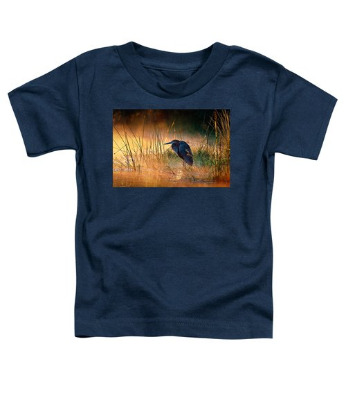 Goliath Heron With Sunrise Over Misty River Toddler T-Shirt