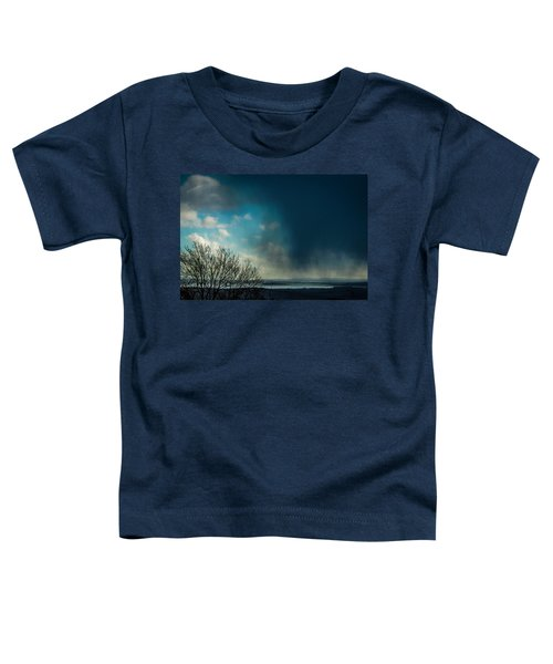 Toddler T-Shirt featuring the photograph Hail Storm Obscures Ireland's Blue Sky by James Truett
