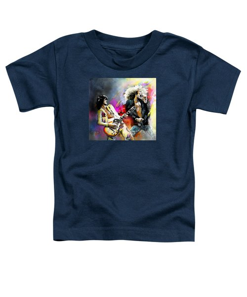 Jimmy Page And Robert Plant Led Zeppelin Toddler T-Shirt by Miki De Goodaboom