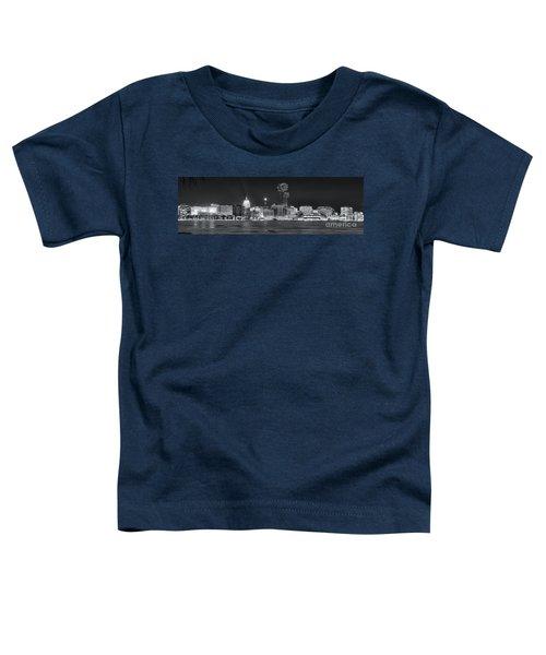 Madison - Wisconsin -  New Years Eve Panorama Black And White Toddler T-Shirt