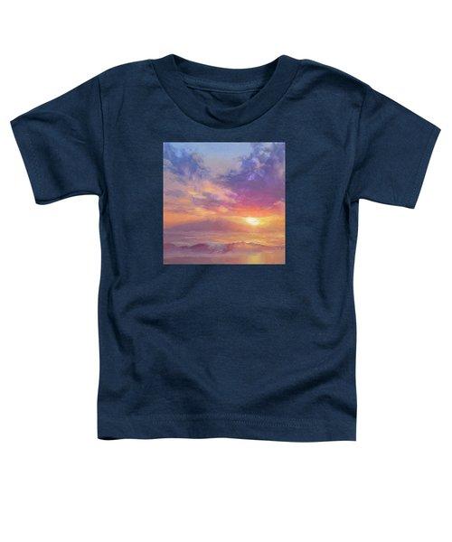 Coastal Hawaiian Beach Sunset Landscape And Ocean Seascape Toddler T-Shirt