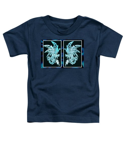 Toddler T-Shirt featuring the mixed media Mech Dragons Diamond Ice Crystals by Shawn Dall