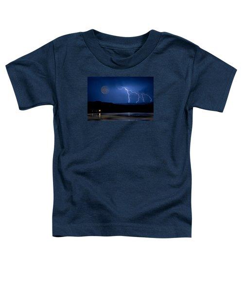 Misty Lake Full Moon Lightning Storm Fine Art Photo Toddler T-Shirt