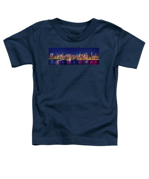 New York City Nyc Midtown Manhattan At Night Toddler T-Shirt by Jon Holiday