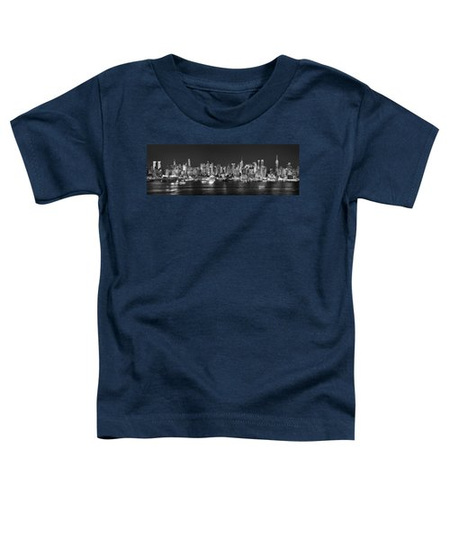 New York City Nyc Skyline Midtown Manhattan At Night Black And White Toddler T-Shirt by Jon Holiday
