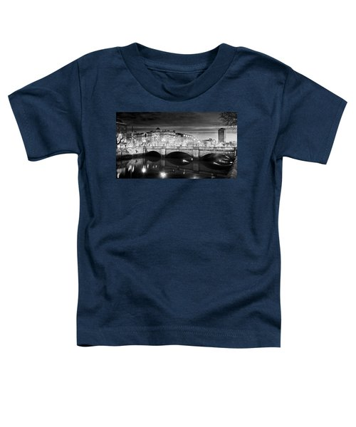 O Connell Bridge At Night - Dublin - Black And White Toddler T-Shirt
