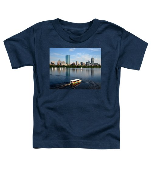 Rainbow Duck Boat On The Charles Toddler T-Shirt