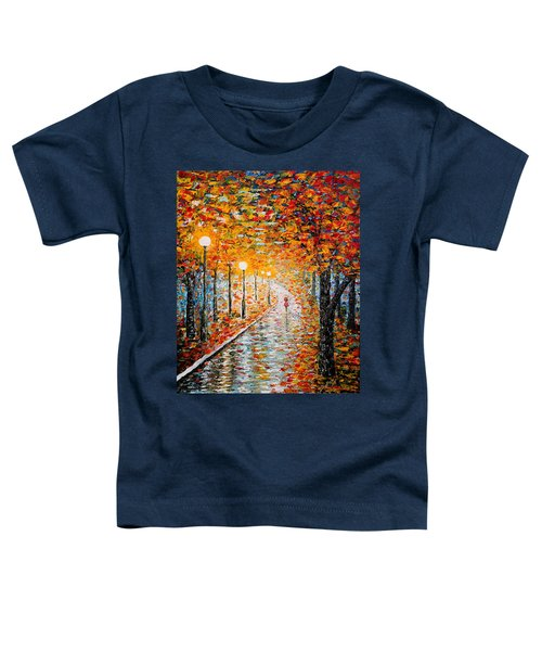 Toddler T-Shirt featuring the painting Rainy Autumn Day Palette Knife Original by Georgeta  Blanaru
