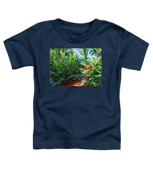 Tropical Jungle Landscape - Red Garden Hawaiian Torch Ginger Wall Art Toddler T-Shirt