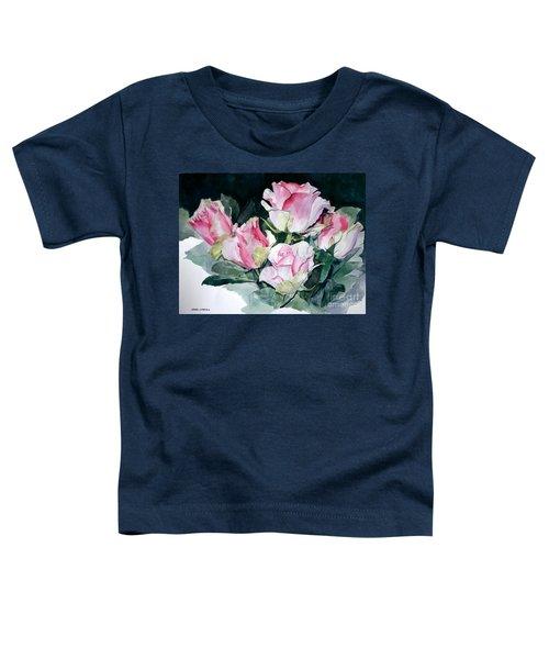 Watercolor Of A Pink Rose Bouquet Celebrating Ezio Pinza Toddler T-Shirt