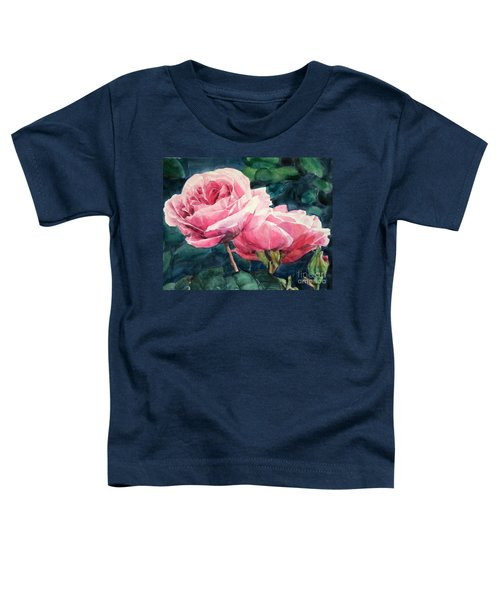 Watercolor Of Two Luscious Pink Roses Toddler T-Shirt