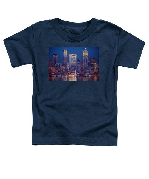 Seahawks 12th Man Seattle Skyline At Dusk Toddler T-Shirt by Mike Reid