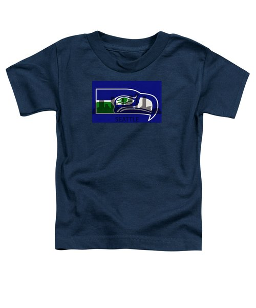 Seattle Seahawks On Seattle Skyline Toddler T-Shirt by Dan Sproul