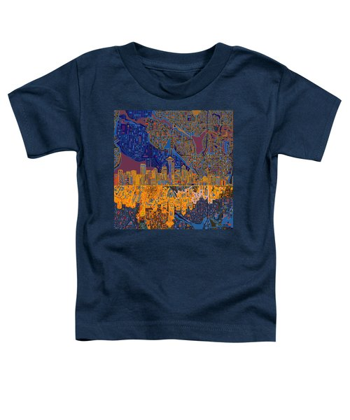 Seattle Skyline Abstract 4 Toddler T-Shirt