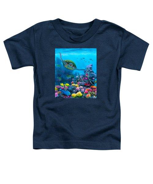 Secret Sanctuary - Hawaiian Green Sea Turtle And Reef Toddler T-Shirt