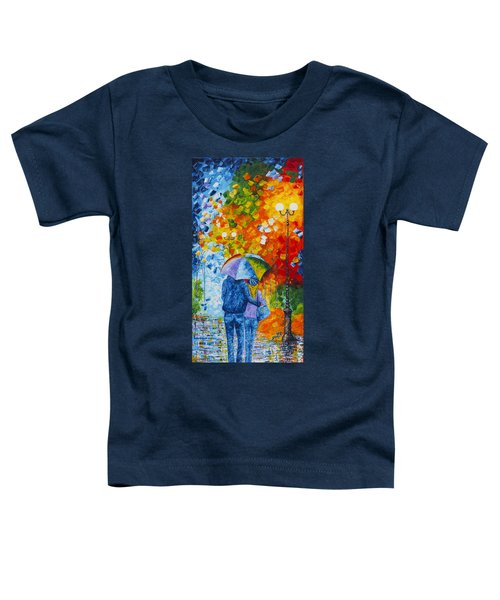 Toddler T-Shirt featuring the painting Sharing Love On A Rainy Evening Original Palette Knife Painting by Georgeta Blanaru