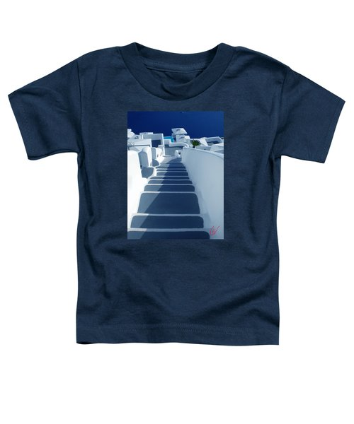 Toddler T-Shirt featuring the photograph Stairs Down To Ocean Santorini by Colette V Hera  Guggenheim