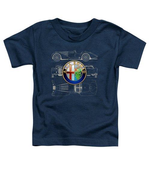 Alfa Romeo 3 D Badge Over 1938 Alfa Romeo 8 C 2900 B Vintage Blueprint Toddler T-Shirt