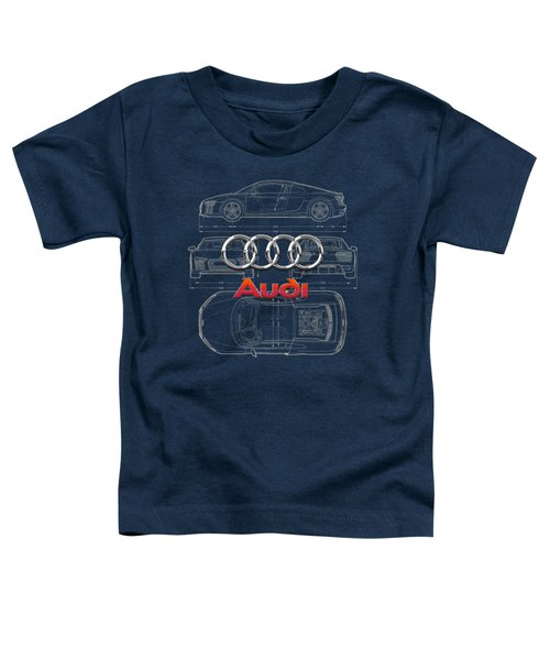 Audi 3 D Badge Over 2016 Audi R 8 Blueprint Toddler T-Shirt by Serge Averbukh