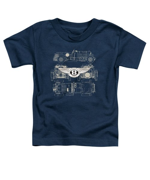Bentley - 3 D Badge Over 1930 Bentley 4.5 Liter Blower Vintage Blueprint Toddler T-Shirt by Serge Averbukh