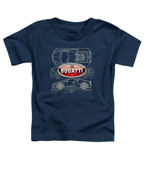 Bugatti 3 D Badge Over Bugatti Veyron Grand Sport Blueprint  Toddler T-Shirt