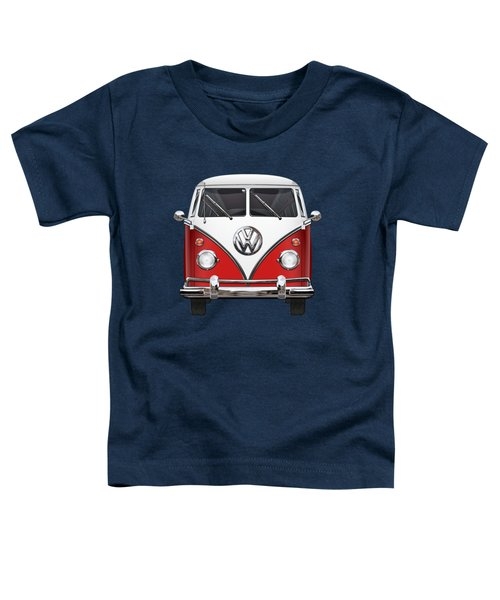 Volkswagen Type 2 - Red And White Volkswagen T 1 Samba Bus Over Green Canvas  Toddler T-Shirt