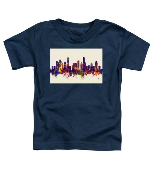 Los Angeles California Skyline Toddler T-Shirt by Michael Tompsett