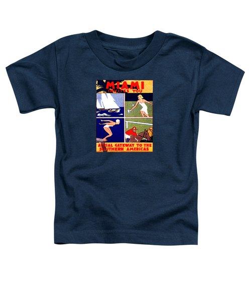 1925 Miami Travel Poster Toddler T-Shirt