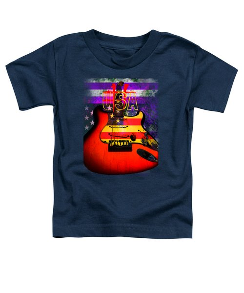 Red Usa Flag Guitar  Toddler T-Shirt