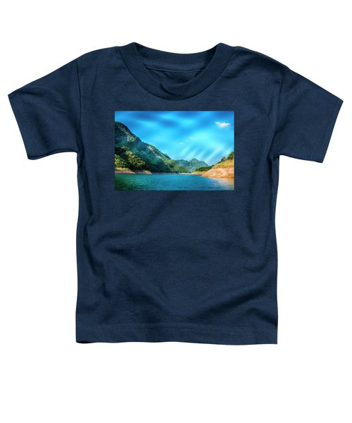 The Mountains And Reservoir Scenery With Blue Sky Toddler T-Shirt