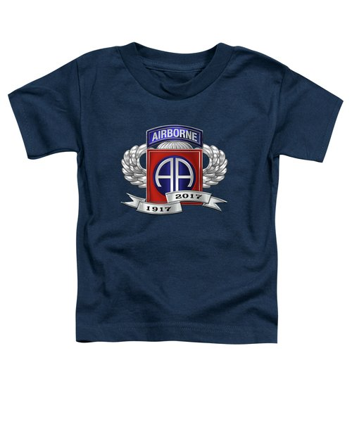 82nd Airborne Division 100th Anniversary Insignia Over Blue Velvet Toddler T-Shirt