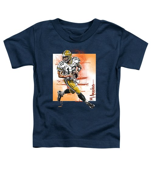 Aaron Rodgers Scrambles Toddler T-Shirt by Maria Arango