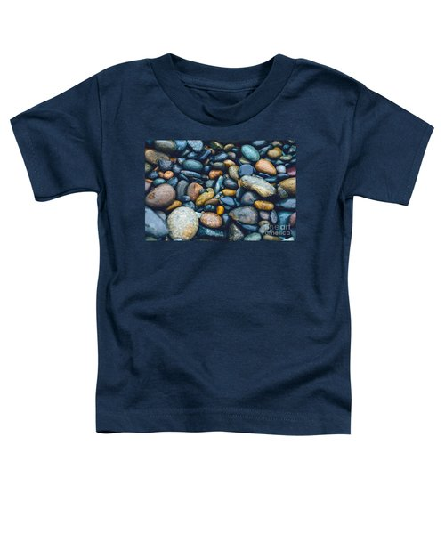 Abstract Nature Tropical Beach Pebbles 923 Blue Toddler T-Shirt