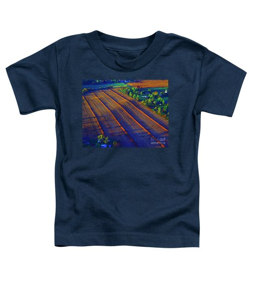 Aerial Farm Field Harvested At Sunset Toddler T-Shirt