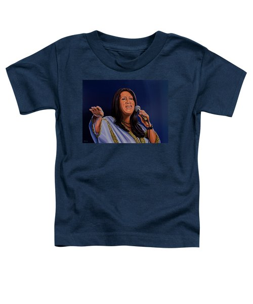 Aretha Franklin Painting Toddler T-Shirt by Paul Meijering