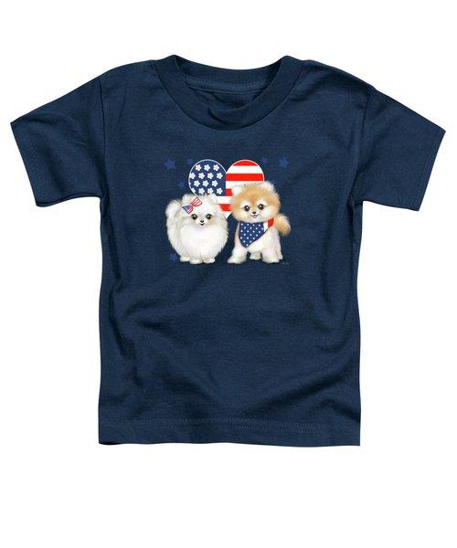Patriotic Pomeranians Toddler T-Shirt