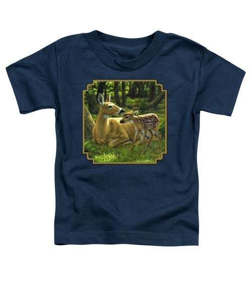 Whitetail Deer - First Spring Toddler T-Shirt by Crista Forest