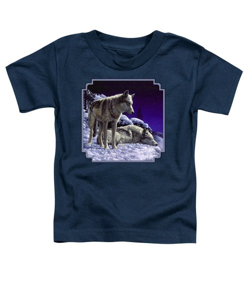 Wolf Painting - Night Watch Toddler T-Shirt by Crista Forest